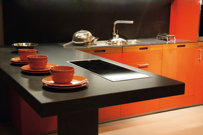 Honed Countertop Materials : Picture Credit: Image Arcade. Honed finish black Silestone with orange ...