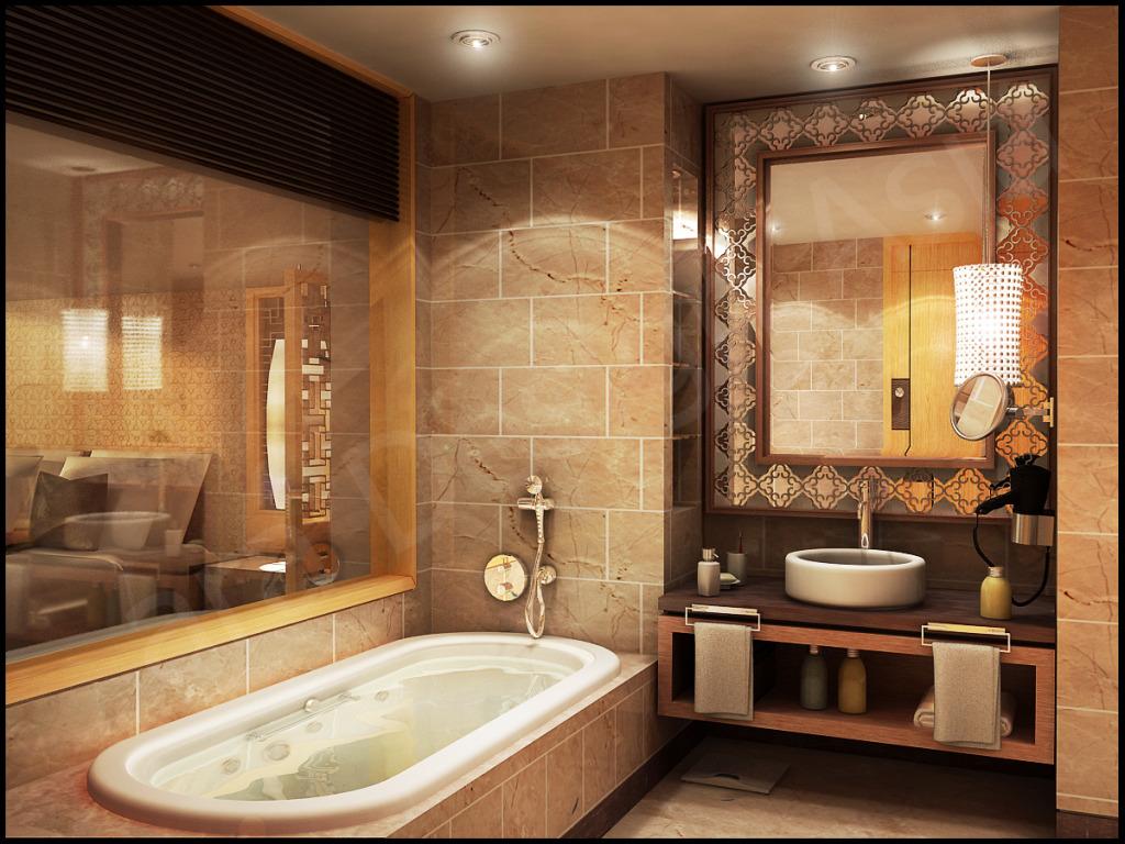 Bathroom backsplash ideas, earth tones