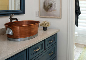 Bathroom vanity copper oval sink