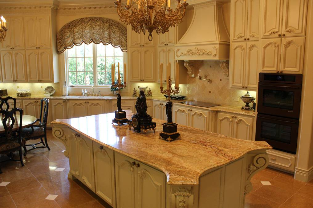 Typhoon Bordeaux Countertop With Cream Cabinets And Island Cabinet And