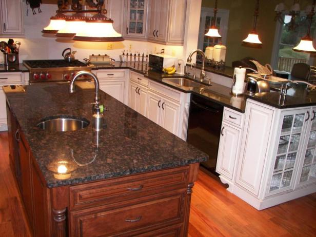 Granite Sandstone Countertop With Tan Cabinet Kitchen Design Ideas ~ Relished rubiginous tan brown granite countertop