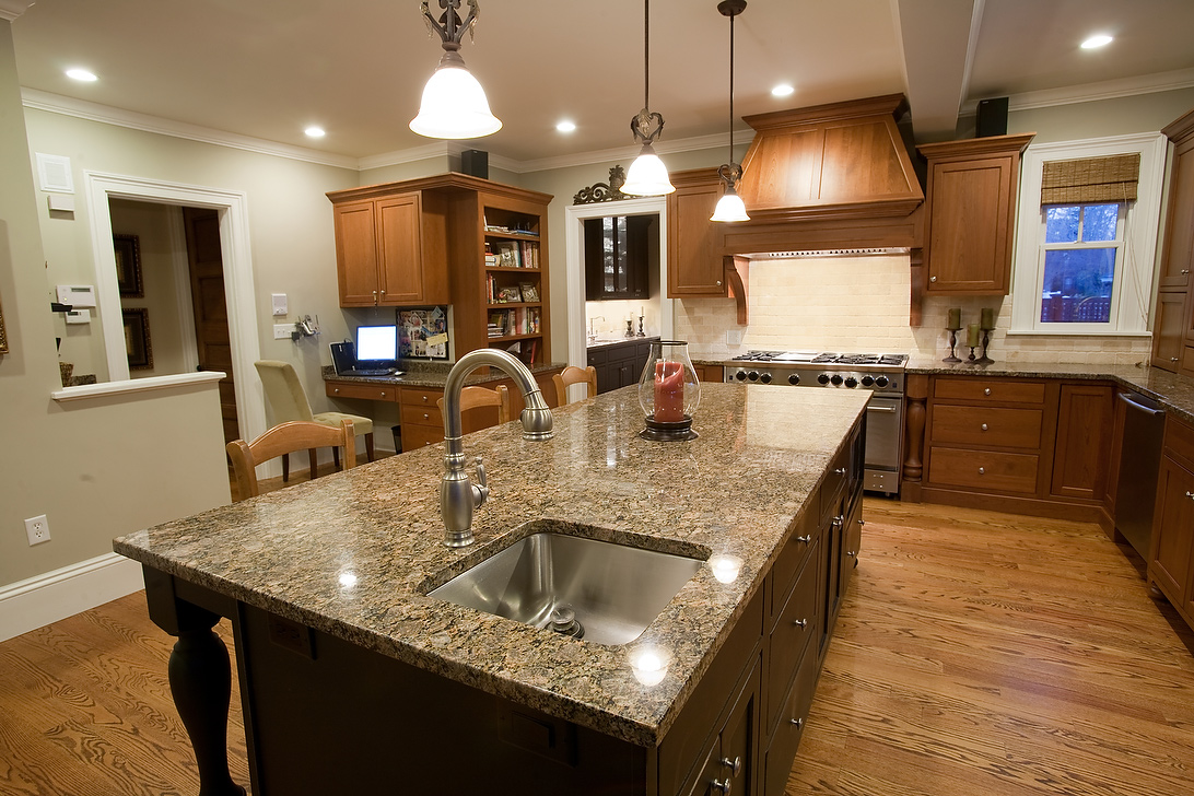 granite is very friendly with all cherry colors earth tone kitchen