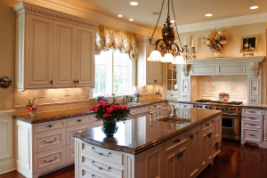 Brownie granite with cream kitchen cabinet