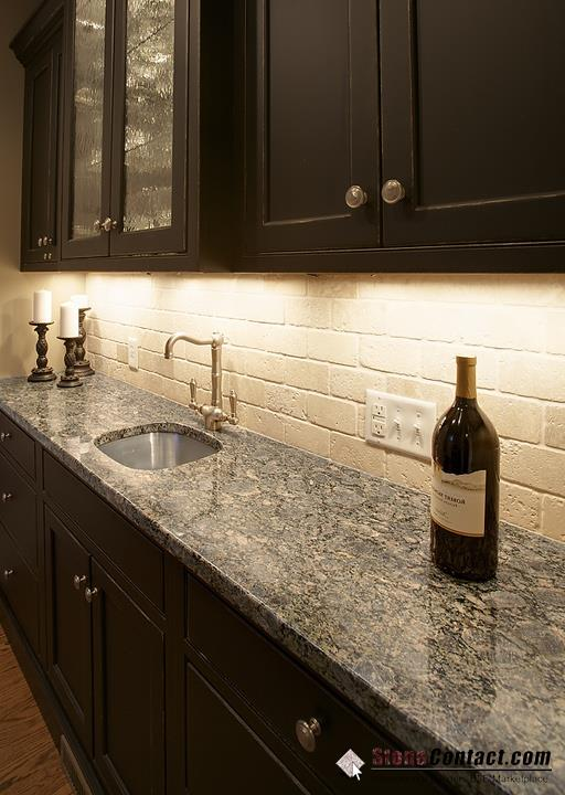 Espresso Cabinets Backsplash Ideas Part - 21: Brownie Granite Espresso Kitchen Cabinet With Travertine Subway Backsplash  Design