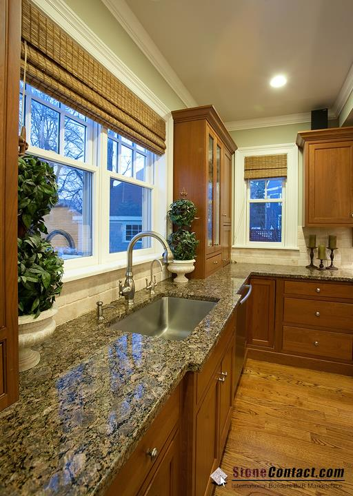 Brownie finished granite with walnut kitchen cabinet