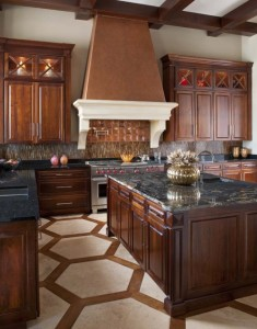 titanium granite with walnut stain cherry cabinets