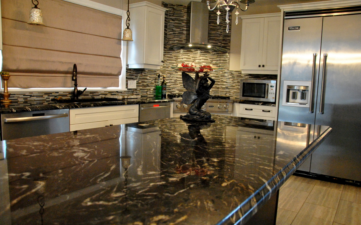Black Titanium Granite : Curly medley titanium granite countertop