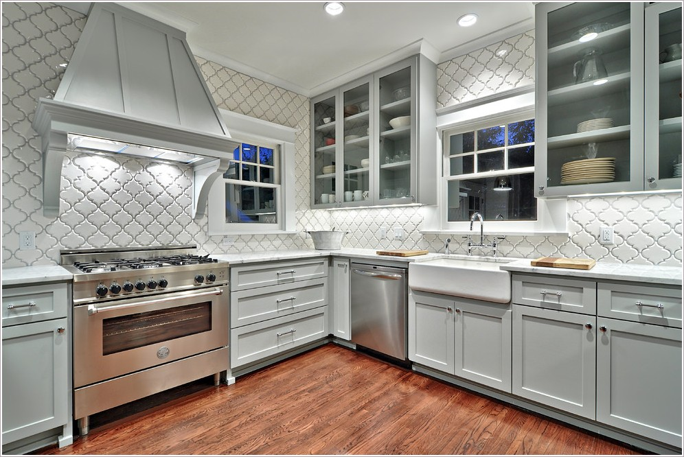 Gray Cabinets with Arabesque Tile and Oak Flooring match with White Carrara Marble
