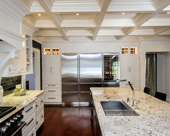 Elegant kitchen with colonial white granite countertops