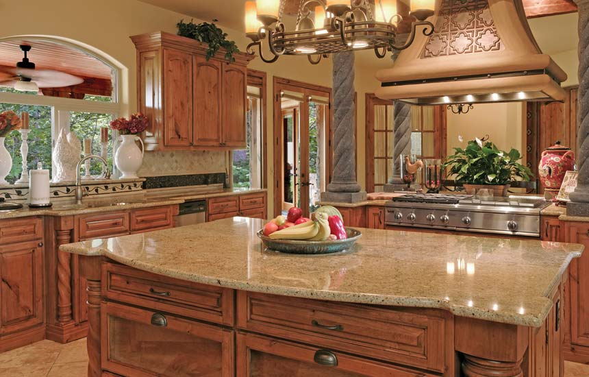 Giallo Napoli Granite With Rustic Cherry Cabinets