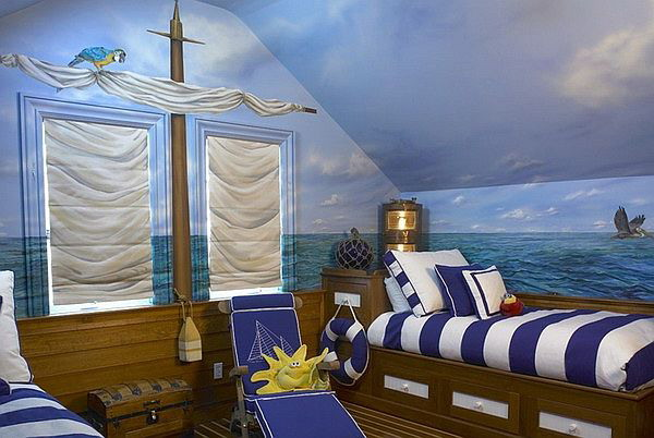 Elegant Nautical Boy Bedroom Ideas with wall murals