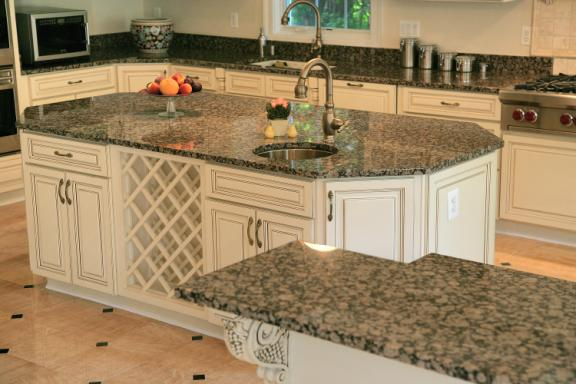 White Kitchen Cabinets With Baltic Brown Granite