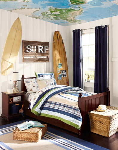 Surfer boy bedroom and bedding