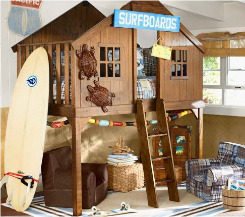 Surfer boy bedroom ideas with loft bed