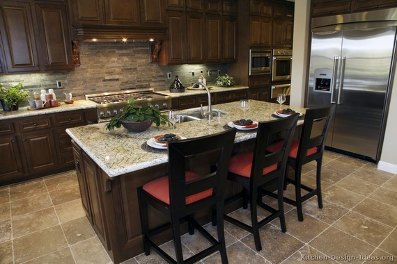 colonial white granite with toffee stain maple cabinets and slate brick backsplash - Kitchen Backsplash With Dark Cabinets