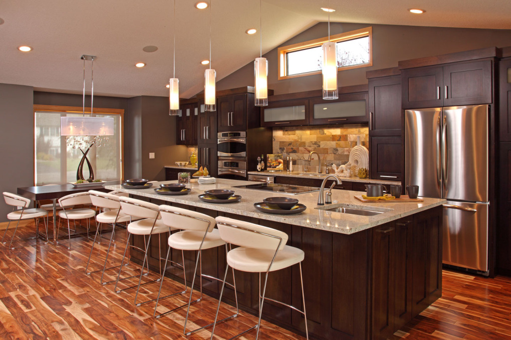 Furniture:Modern Kitchen Island With Breakfast Bar Table Design Inspiration With Brown Textured Wood Floor photo - 5