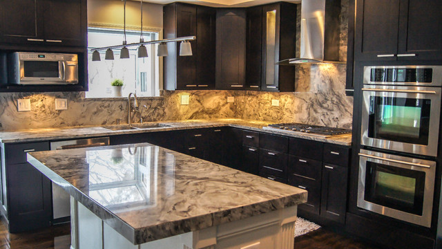 White Fantasy Granite Dark Cabinets Backsplash Ideas Images