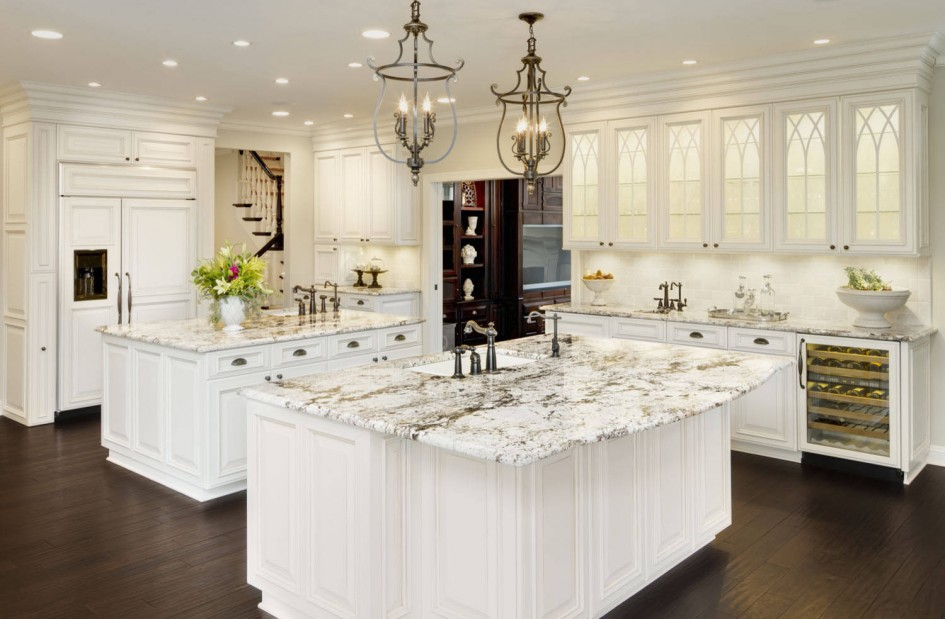 Ice granite white cabinets backsplash ideas