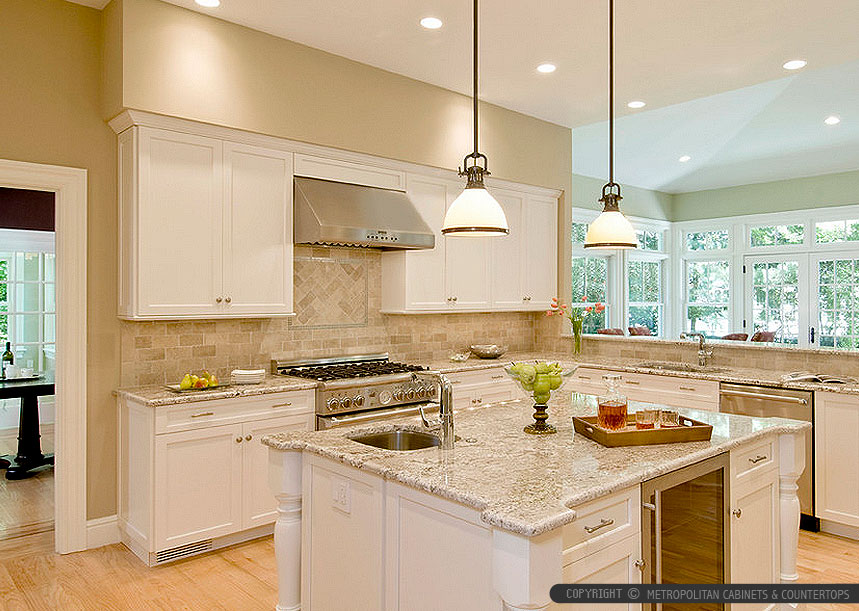 Kitchen Travertine Backsplash Ideas Part - 50: Giallo Napoli Granite White Cabinets Backsplash Ideas