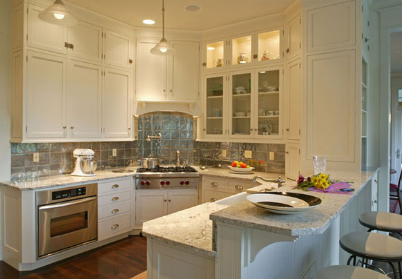 Romano granite white cabinets backsplash ideas