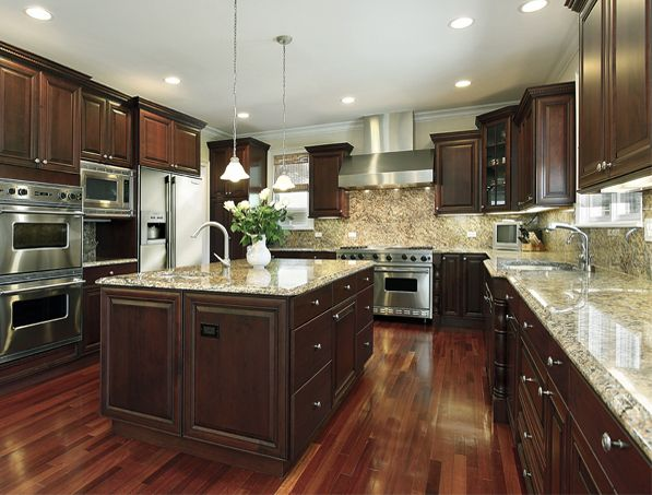 Ornamental dark cabinets backsplash ideas