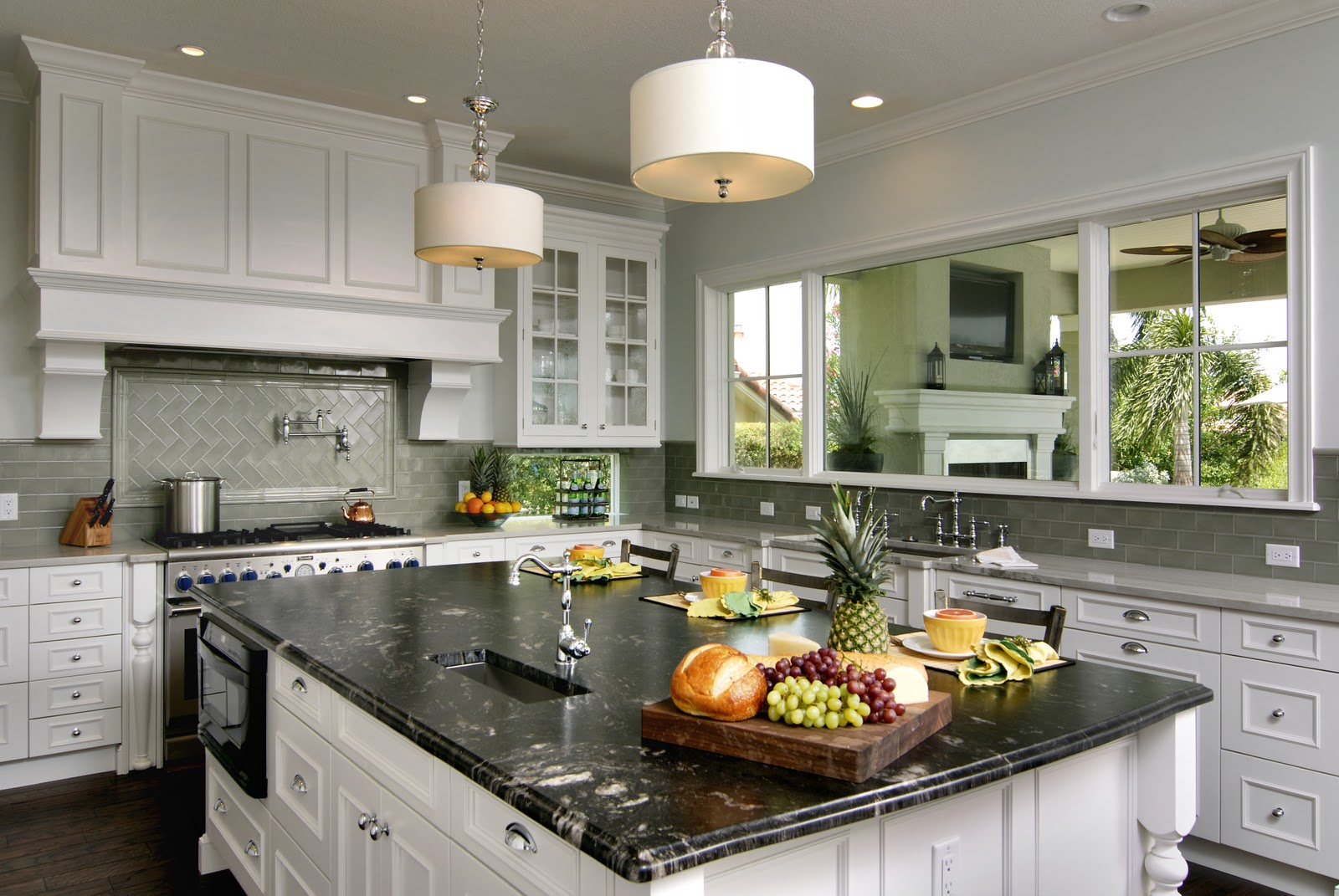 Titanium granite white cabinets backsplash ideas for White kitchen cabinets with white marble countertops