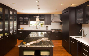 Titanium granite dark cabinets backsplash ideas