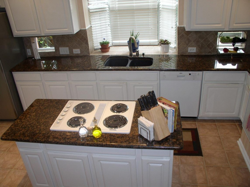 Baltic Brown With White Cabinets And Appliance