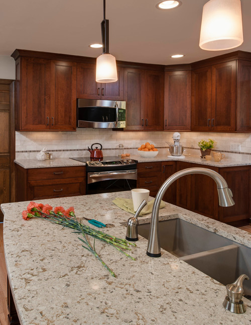 Cambria windermere dark cabinets backsplash ideas Backsplash ideas quartz countertops
