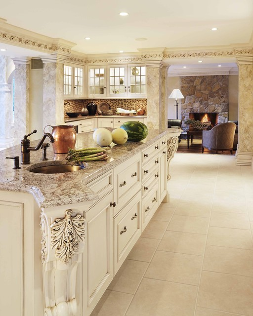 Antiqued Marble Countertops: Bianco Antico Granite White Cabinets Backsplash Ideas