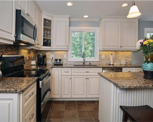 Cambria Canterbury white cabinets backsplash ideas