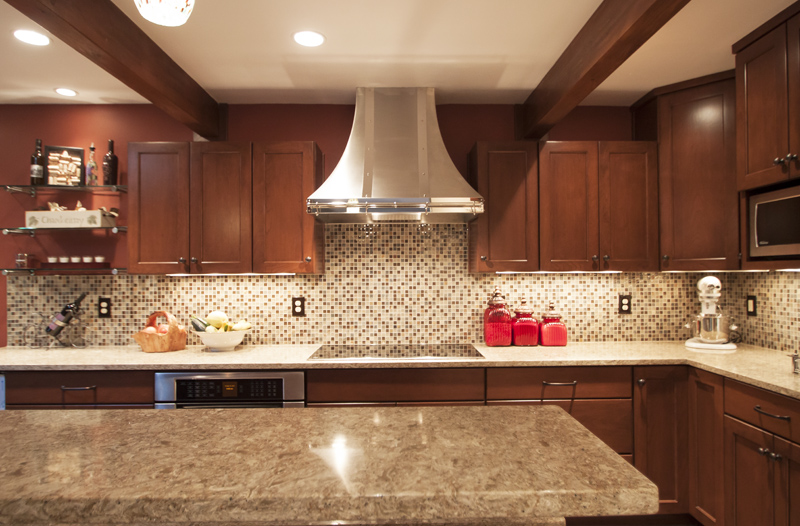 Cambria Berkeley Dark Cabinets Backsplash Ideas