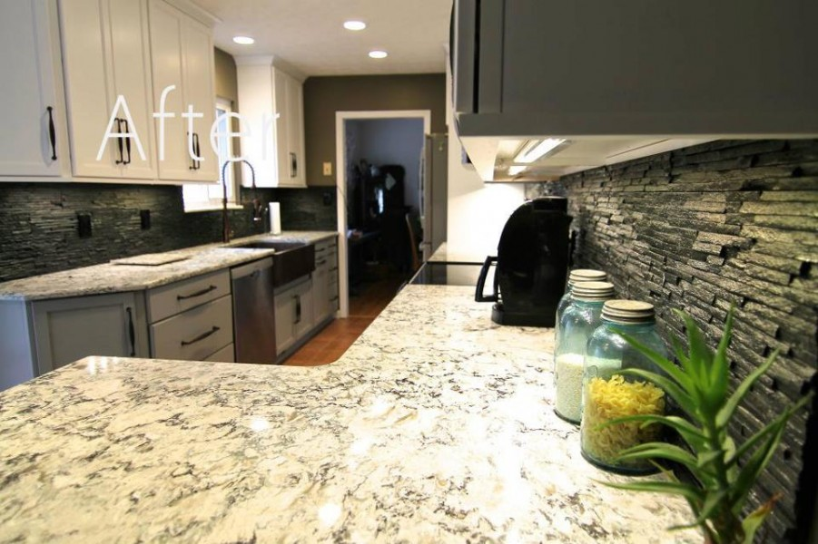 Cambria Praa Sands with white cabinets