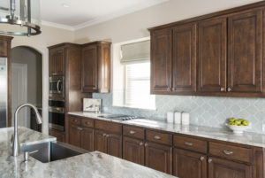 Brown Fantasy Dark Cabinets Backsplash Ideas