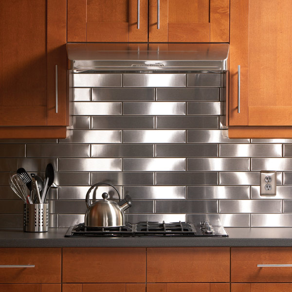 Satin and Brushed Stainless Steel Backsplash