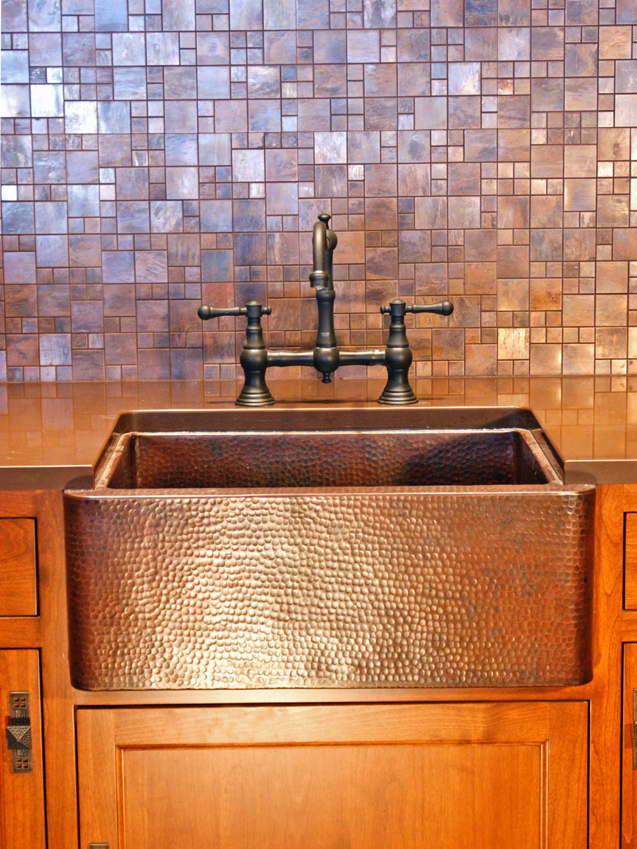brushed copper mosaic backsplash tile