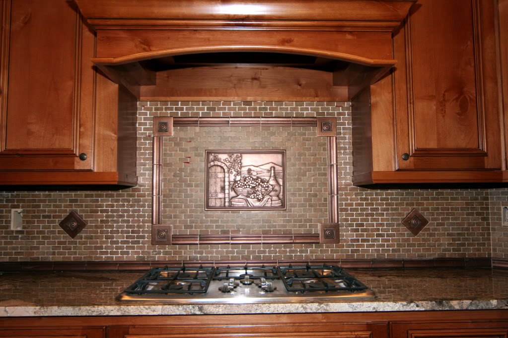 copper 3D mural backsplash